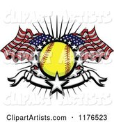 Softball with American Flags Stars and a Banner