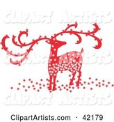 Sparkling Red Christmas Reindeer with Large Antlers
