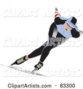 Speed Skater in a Blue and Black Uniform