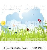 Spring Background of Grass, Butterflies and Flowers Against Clouds
