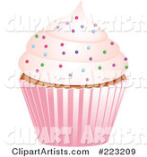Sprinkled Cupcake in a Pink Wrapper