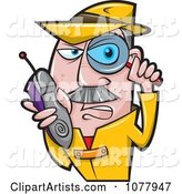 Spy Holding a Magnifying Glass and Shoe Phone