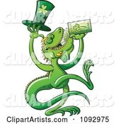 St Patricks Day Iguana Drinking Green Beer
