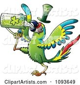 St Patricks Day Macaw Parrot Drinking Green Beer
