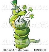 St Patricks Day Snake Drinking Green Beer