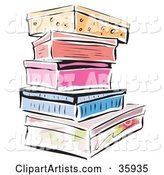 Stack of Colorful Shoe Boxes or Storage Containers