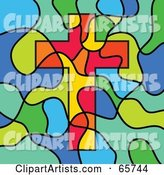 Stained Glass Christian Cross Background