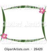 Stationery Border of Green Branches and Pink Hibiscus Flowers over White