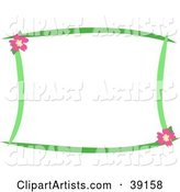 Stationery Border of Green Lines and Pink Hibiscus Flowers