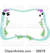 Stationery Border of Hearts, Paw Prints, Bones and Branches Framing a White Background