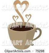 Steam Hearts Rising from a Brown Cup of Coffee