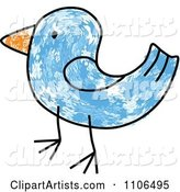 Stick Drawing of a Blue Bird