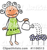 Stick Drawing of a Happy Girl Watering Flowers in Her Garden