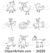Stick Figure Cat, Dog, Bird, Dragonfly, Ladybug, Butterfly, Pig, Pupy and Horse
