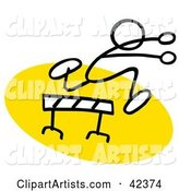 Stick Figure Running and Leaping over a Hurdle on a Yellow Track