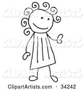 Stick Girl with Curly Hair