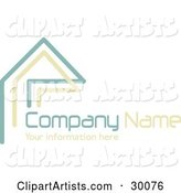 Stock Logo of Teal and Beige Lines Resembling a Home or Roof, Above Space for a Company Name and Information