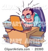 Stressed and Overwhelmed Businessman Typing Away on His Laptop at His Desk, Surrounded by Stacks of Files