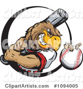 Strong Baseball Eagle Swinging a Bat at a Ball with a Worm