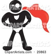 Strong Blackman Character Wearing a Red Super Hero Cape