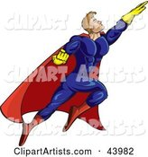 Strong Flying Male Super Hero in a Blue, Yellow and Red Uniform