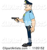 Strong Police Man in Profile Holding a Gun
