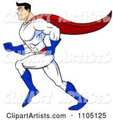 Strong Super Hero Man Running in Profile