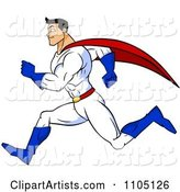 Strong Super Hero Man Sprinting in Profile