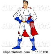 Strong Super Hero Man with His Hands on His Hips