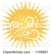 Summer Sun with Swirls and Flowers