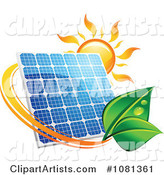 Sun Above a Solar Panel with a Green Leaf Circle 4