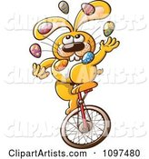 Talented Easter Bunny Juggling Eggs and Riding a Unicycle