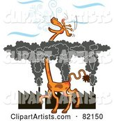 Tall Giraffe Gasping for Fresh Air Above a Layer of Factory Smog