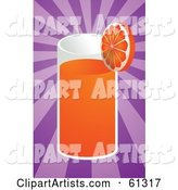 Tall Glass of Orange Juice Garnished with a Slice on a Purple Bursting Background
