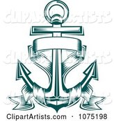 Teal Nautical Anchor and Banner Logo
