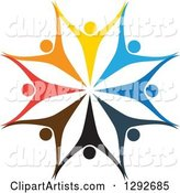 Team Circle of Colorful Cheering People Holding Hands and Forming a Flower or Snowflake