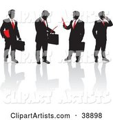 Team of Black Silhouetted Business Men in Suits with Red Ties, Talking on Phones, Holding Papers and Briefcases