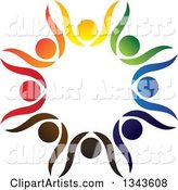 Teamwork Unity Circle of Colorful People Cheering or Dancing 20