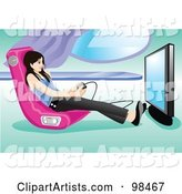 Teen Girl Playing a Video Game in a Gamer Chair