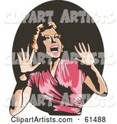Terrified Retro Woman Screaming and Holding Her Hands up