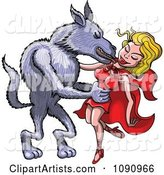 The Big Bad Wolf Taking Red Riding Hood into His Arms and Kissing Her