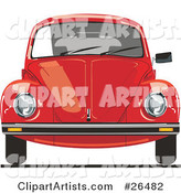 The Front of a Red VW Bug Car