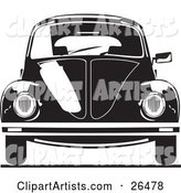 The Front of a Volkswagen Bug Car in Black and White