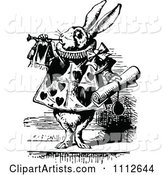 The White Rabbit Servant Tooting a Horn and Holding a Notice in Wonderland