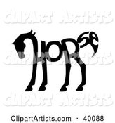 The Word Horse Spelled out and Forming the Shape of a Horse's Body
