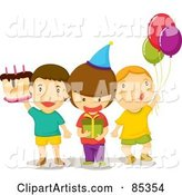 Three Birthday Party Guest Boys with a Cake, Present and Balloons