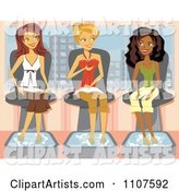 Three Girlfriends Talking and Getting Pedicures in a Salon