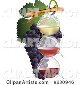 Three Glasses of Wine with Grapes - 1