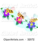 Three Happy Bees Collecting Pollen from Purple and Pink Flowers