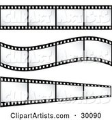 Three Sets of Film Strips with Blank Frames, One Straight, One Curving, One Leading off into the Distance